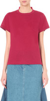 Sacai Floral-lace and linen-blend t-shirt