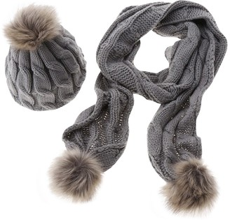 DianShao Womens Winter Knitted Scarf and Hat Set Thicken Pom Pom Cap Ladies Bobble Hats Grey