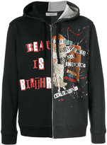 Valentino contrast panel zipped hoodie