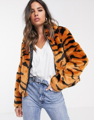 Barneys New York cropped faux fur coat in tiger print