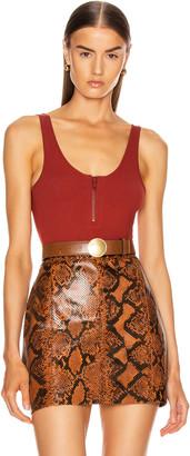 ZEYNEP ARCAY Strap Zip Knit Bodysuit in Cinnamon   FWRD