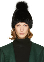 Yves Salomon Black Fur Pom Pom Beanie