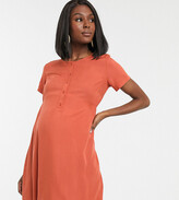 Mama Licious Mama.Licious Mamalicous Maternity smock dress with button detail in orange