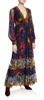 Fuzzi Patchwork Gypsy Mixed-Print Blouson-Sleeve Maxi Dress