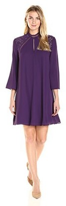 James & Erin Women's Mock Neck Lace Shoulder Bell Sleeve Shift