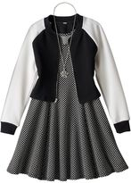 Knitworks Girls 7-16 Textured Jacket & Polka-Dot Princess Seam Dress with Necklace