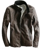 Qiuse Men's Stand Collar Vintage Faux Leather Motorcycle Jacket