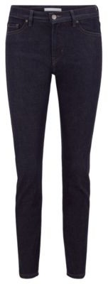 HUGO BOSS Slim-fit cropped jeans in deep-blue stretch denim