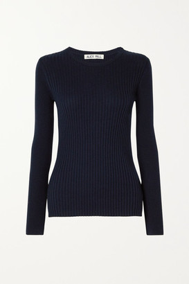 Alex Mill Ribbed Wool And Cotton-blend Sweater - Midnight blue