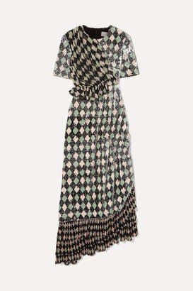Preen by Thornton Bregazzi Addison Printed Sequined Georgette And Chiffon Dress - Black