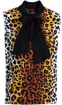 Love Moschino Pussy-Bow Leopard-Print Crepe Top