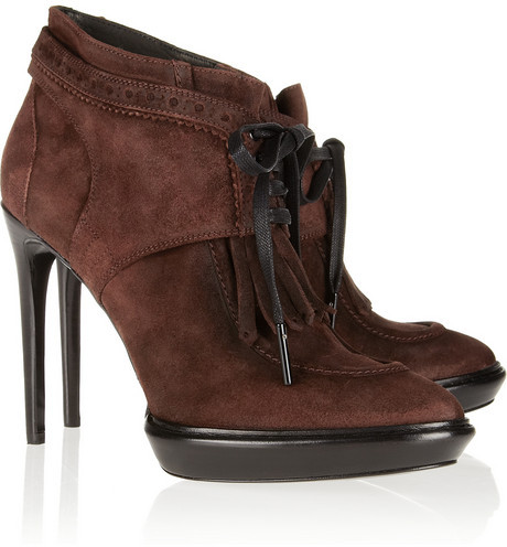 Burberry Lace-up suede ankle boots