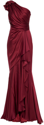 Jenny Packham One-shoulder Draped Silk-stain Gown