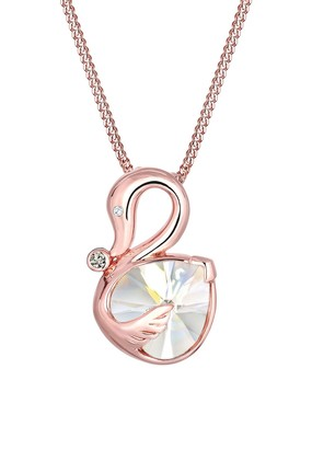 Elli Women 925 Sterling Silver Rose Gold Plated Swan Swarovski Crystal Zirconia Necklace of 45cm 0102231216