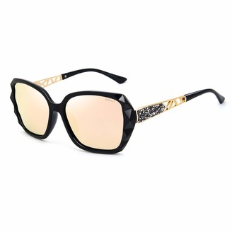 ANDOILT Oversized Polarized Sunglasses for Women Sparkling Composite Frame Classic Ladies Shades Champagne
