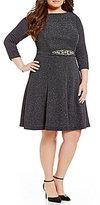 Eliza J Plus 3/4 Sleeve Glitter Beaded Detail Dress