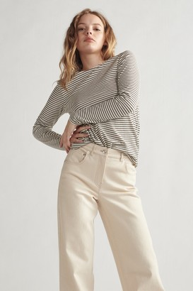 Thakoon Long Sleeve Striped Top Black and White