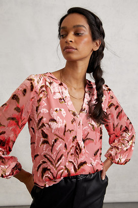 Anthropologie Lori Burnout Velvet Blouse By in Pink Size XS