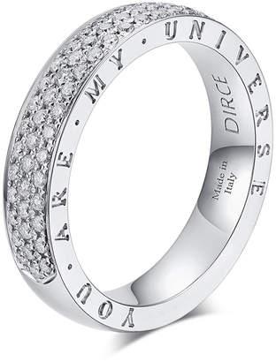 "Milani Alberto Dirce ""You Are My Universe"" 18k White Gold Diamond 4.3mm Band Ring, Size 6.25"