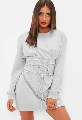 Missguided Grey Corset Waist Sweater Dress