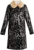 SHRIMPS Hokus doodle-embroidered faux-leather coat