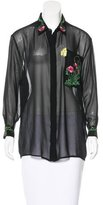 Christopher Kane Embroidered Button-Up Top