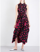 Proenza Schouler Abstract pumpkin-print high-neck crepe dress