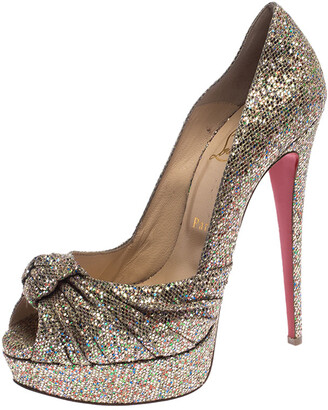 Christian Louboutin Metallic Gold Glitter Fabric Knotted Peep Toe Pumps Size 39