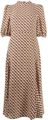 Dvf Diane Von Furstenberg Nella 3d Chain Caffe-print midi dress