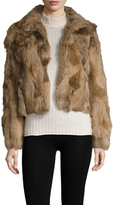 Adrienne Landau Textured Spread Collar Fur Jacket