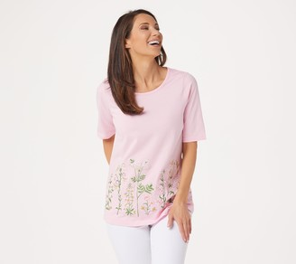 Factory Quacker Elbow-Sleeve Wildflower Knit T-Shirt
