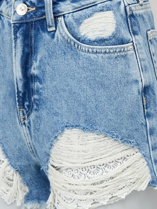 Very Crochet Hem Denim Shorts - Mid Wash
