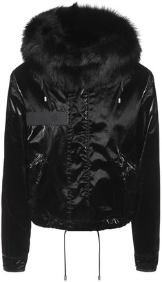 Mr & Mrs Italy Cropped Parka Jacket W/ Fur Trim