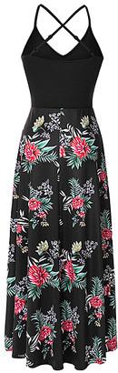 La Mode Women's Maxi Dresses Red&Black - Red & Black Floral V-Neck Crisscross-Back Hi-Low Dress - Women & Plus