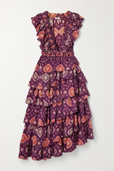 Ulla Johnson Viola Asymmetric Ruffled Floral-print Duchesse Silk-satin Midi Dress - Purple