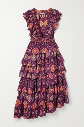 Ulla Johnson Viola Asymmetric Ruffled Floral-print Duchesse Silk-satin Midi Dress - Purple