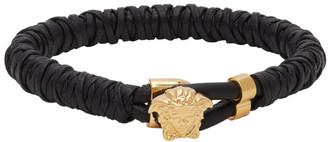 Versace Black Twisted Leather Bracelet