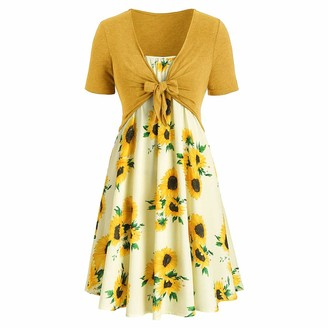 Aiserkly Short Sleeve Bow Knot Bandage Top Sunflower Print Mini Dress Suits Ladies Casual Dress Summer Beach Dress Party Ball Dresses Swing Dress Gold S