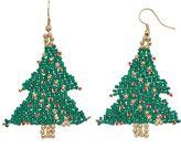 Christmas Tree Seed Bead Drop Earrings