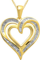 JCPenney FINE JEWELRY 1/4 CT. T.W. Diamond Heart Pendant Necklace 14K Gold Over Sterling Silver
