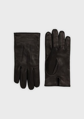 Emporio Armani Lambskin Nappa Leather Gloves With Embossed Logo