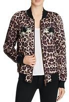 Pam & Gela Embellished Leopard Silk Bomber Jacket