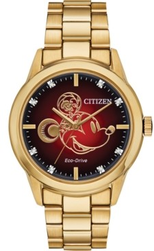 Citizen Disney by Eco-Drive Unisex Diamond Accent Gold-Tone Stainless Steel Bracelet Watch 40mm- A Limited Edition