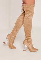 Missguided Nude Faux Suede Over The Knee Transparent Heeled Boots