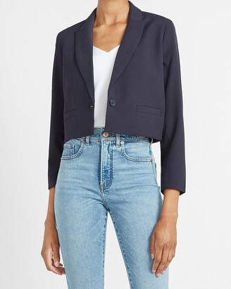 Express Supersoft Cropped One Button Blazer
