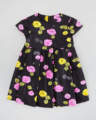 Milly Minis Mischa Dress, Black Multi, Sizes, 8-10