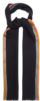 Paul Smith Artist-stripe Herringbone Wool-blend Scarf - Black Multi