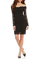 Marina Off-the-Shoulder Lace Sheath Dress