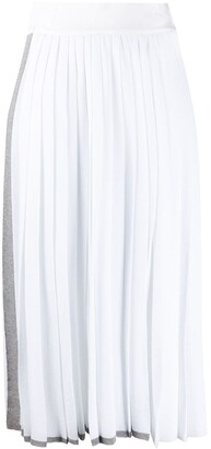 Maison Flaneur Side Stripe Detail Pleated Skirt