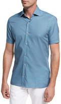 Ermenegildo Zegna Violin-Print Short-Sleeve Cotton Shirt, Medium Green